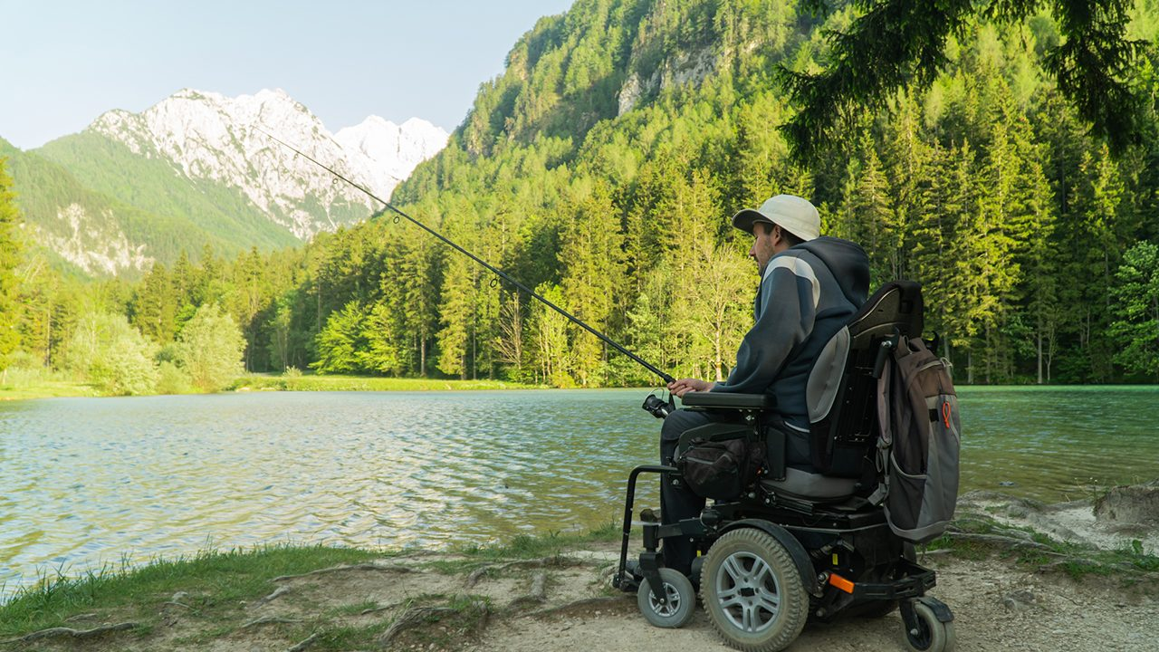 Man in wheelchair fishing